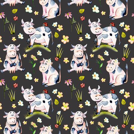 Suluboyayla mükemmel desen, sevimli karikatür inekler, böcek böcekleri ve basit çiçekler illüstrasyonları, elle çizilmiş karanlık bir zeminde izole edilmiş