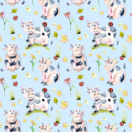 Seamless pattern with watercolor cute cartoon cows, ladybugs and simple flowers illustrations, hand drawn isolated on a blue background Stock fotó