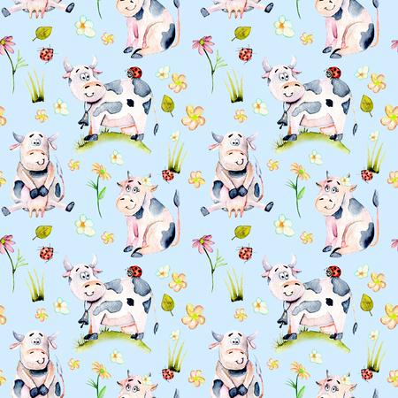 Suluboyayla mükemmel desen, sevimli karikatür inekler, böcek böcekleri ve basit çiçekler illüstrasyonları, mavi bir zeminde izole çizilmiş el