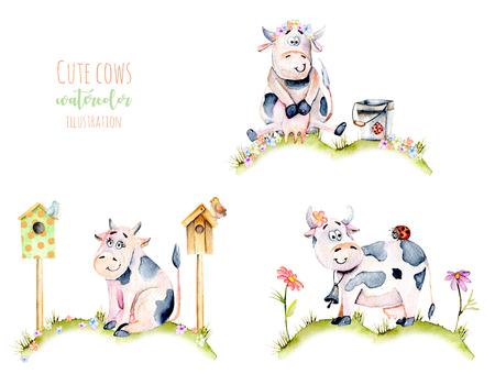 Bir çayır, böcekler ve basit çiçekler illüstrasyon suluboya sevimli karikatür inekler kümesi, el çizilmiş beyaz bir arka plan üzerinde çizilmiş Stok Fotoğraf