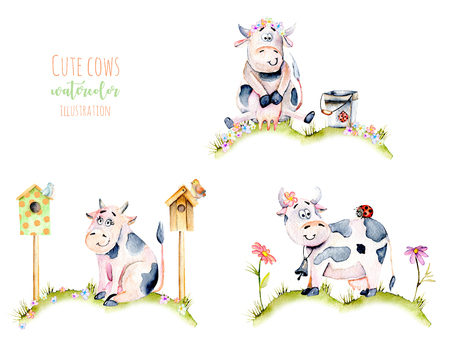 Set of watercolor cute cartoon cows on a meadow, ladybugs and simple flowers illustrations, hand drawn isolated on a white background Stock fotó
