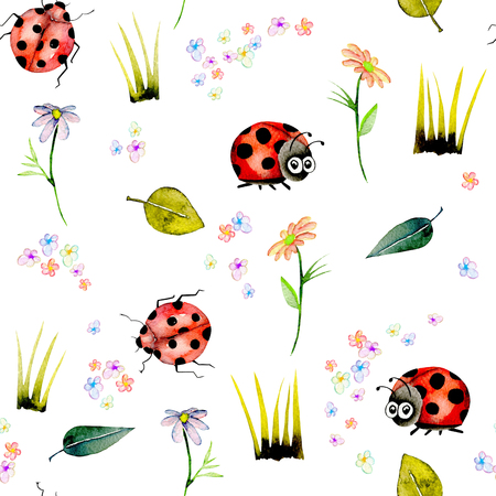 Seamless pattern with watercolor cute cartoon ladybugs and simple flowers, hand drawn isolated on a white background