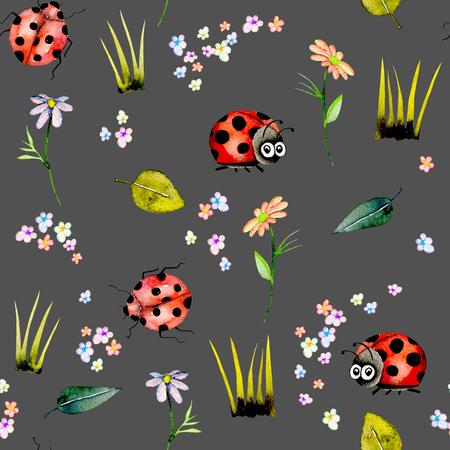 Zökkenőmentes minta akvarell aranyos rajzfilm katicabogarak és egyszerű virágok, kézzel rajzolt elszigetelt sötét alapon