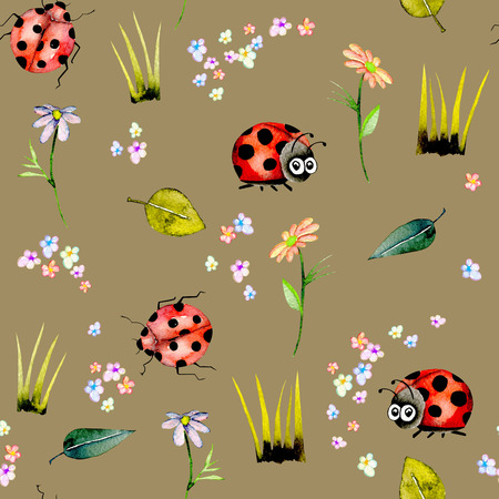 Zökkenőmentes minta akvarell aranyos rajzfilm katicabogarak és egyszerű virágok, kézzel rajzolt elszigetelt, egy barna háttér Stock fotó