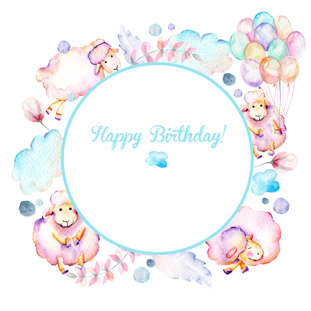 Circle frame, wreath with watercolor cute pink sheeps, air balloons, plants and clouds illustrations, hand drawn on a white background Stock fotó
