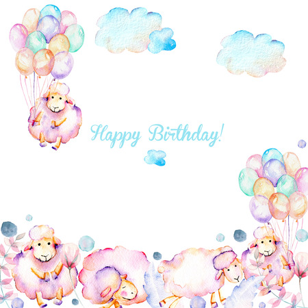 Card template with watercolor cute pink sheeps, air balloons, plants and clouds illustrations, hand drawn on a white background