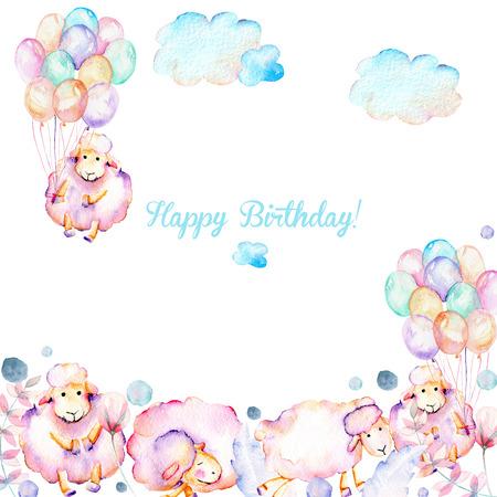 Kart şablonu ile suluboya şirin pembe koyunlar, hava balonları, bitkiler ve bulutlar illüstrasyonlar, elle çizilmiş beyaz arka planda