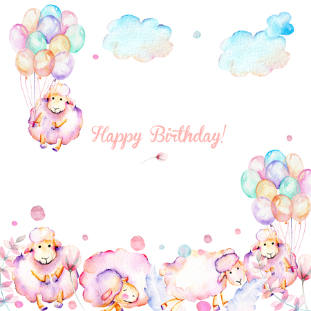 Card template with watercolor cute pink sheeps, air balloons, plants and clouds illustrations, hand drawn on a white background, baby girl shower card, Happy Birthday design
