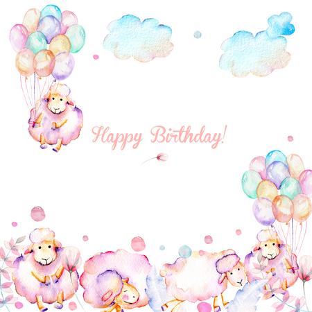 Sulu boya kart şablonu, sevimli pembe koyunlar, hava balonları, bitkiler ve bulutların illüstrasyonları, elle beyaz bir arka plan üzerine çizilmiş bebek kızı duş kartı, mutlu doğum günü deseni