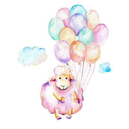 Suluboya, sevimli, pembe koyun, hava balonları ve bulutlar illüstrasyon, el çizilmiş izole beyaz arka plan