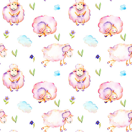Seamless pattern with watercolor cute pink sheeps, simple flowers and clouds illustrations, hand drawn isolated on a white background
