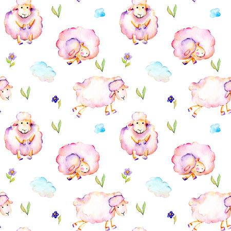 Suluboya pürüzsüz pembe koyunlar, basit çiçekler ve bulutlar resimlerle kesintisiz desen, el çizilmiş beyaz arka planda çizilmiş