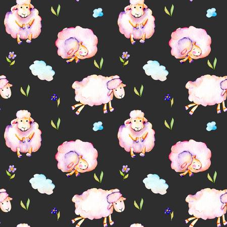 Zökkenőmentes minta akvarell aranyos rózsaszín juhok, egyszerű virágok és felhők illusztrációk, kézzel rajzolt elszigetelt sötét háttér
