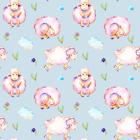 Seamless pattern with watercolor cute pink sheeps, simple flowers and clouds illustrations, hand drawn isolated on a blue background