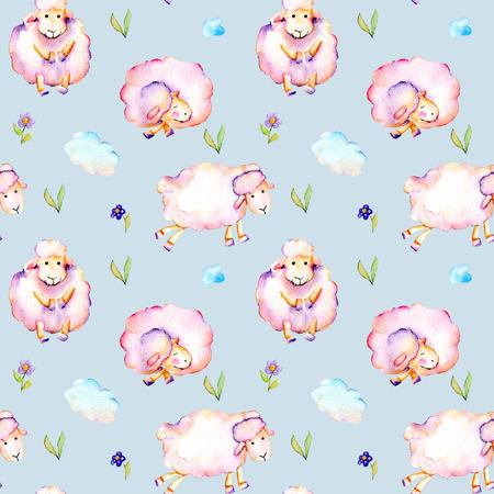 Suluboyayla şirin desen, şirin pembe koyunlar, basit çiçekler ve bulutlar illüstrasyonlar, el mavi bir zeminde izole çizilmiş Stok Fotoğraf