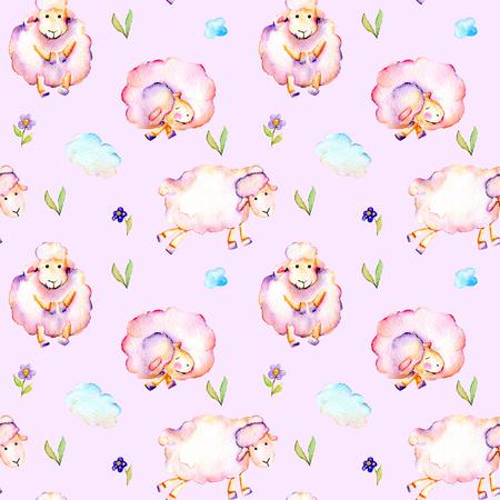 Suluboyayla şirin pembe koyunlar, basit çiçekler ve bulutlar illüstrasyon, elle ihale edilmiş pembe bir zeminde izole çizilmiş