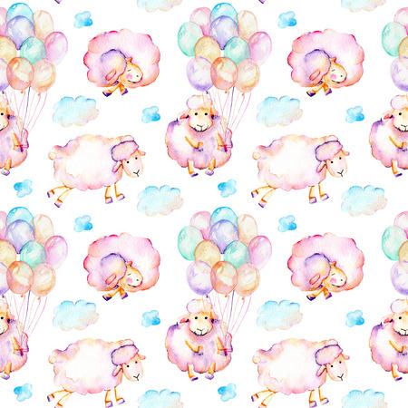 Suluboya pürüzsüz pembe koyunlar, hava balonları ve bulutlar illüstrasyon ile dikişsiz desen, el çizilmiş beyaz arka plan üzerinde çizilmiş