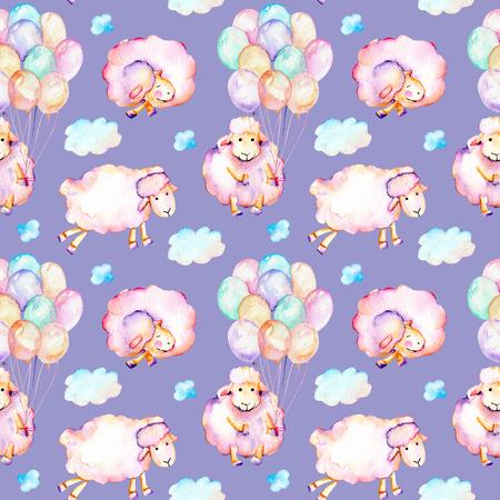 Suluboyayla şirin desen, şirin pembe koyunlar, hava balonları ve bulut resimleri, elle mavi bir zeminde izole çizilmiş