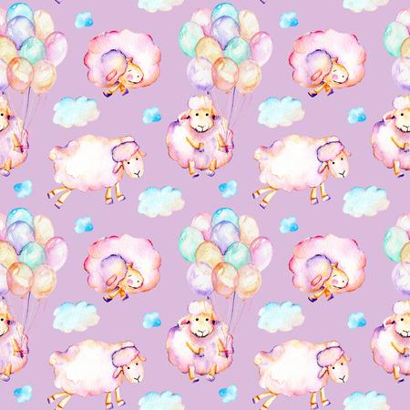Suluboyayla şirin desen, şirin pembe koyunlar, hava balonları ve bulutlar illüstrasyonlar, elle mor bir zeminde izole çizilmiş