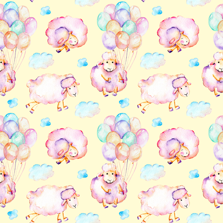 Seamless pattern with watercolor cute pink sheeps, air balloons and clouds illustrations, hand drawn isolated on a yellow background