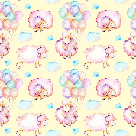 Suluboyayla şirin pembe koyunlar, hava balonları ve bulut resimleri, elle sarı arka planda izole çizilmiş Stok Fotoğraf