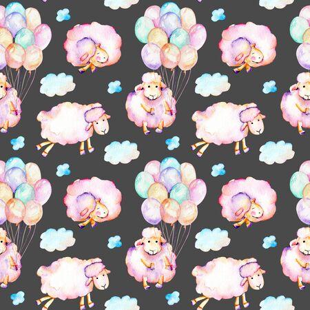 Suluboyayla şirin pembe koyunlar, hava balonları ve bulutlar illüstrasyonlar, elle çizilmiş karanlık bir arka plan
