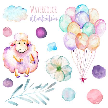 Suluboya şirin pembe koyun, hava balonları, basit çiçekler ve lekeler illüstrasyon seti, el çizilmiş beyaz bir arka plan üzerinde çizilmiş