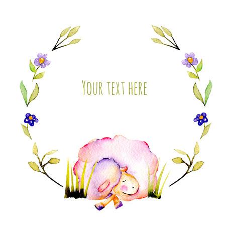 サークル フレーム、花輪水彩かわいい睡眠羊と単純な植物イラスト白背景に描かれた手
