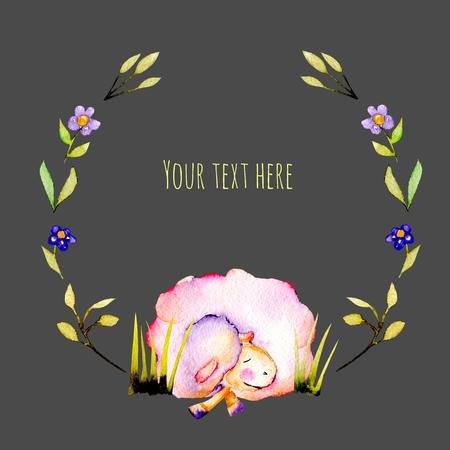 Çember çerçeve, suluboya çelenk, sevimli uyku koyunları ve sade bitkiler illüstrasyonları, elle koyu renkli bir arka plan üzerine çizilmiş Stok Fotoğraf