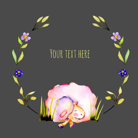 Circle frame, wreath with watercolor cute sleeping sheep and simple plants illustrations, hand drawn on a dark background