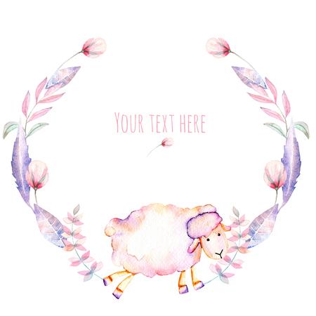 Kör keret, koszorú akvarell aranyos juh és rózsaszín virágok, kézzel rajzoltak fehér alapon