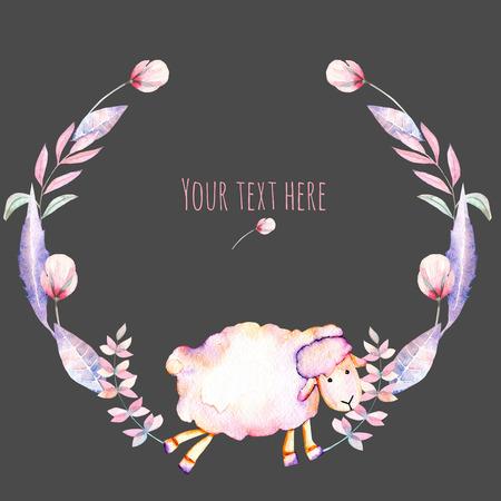 Kör keret, koszorú akvarell aranyos juh és rózsaszín virágok, kézzel rajzolt egy sötét háttér