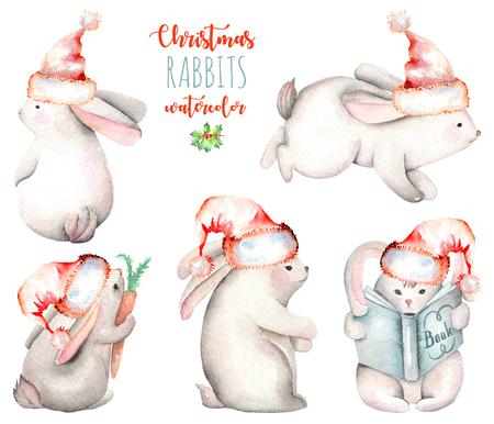 Suluboya şirin yılbaşı tavşan illüstrasyon seti, el çizilmiş beyaz bir arka plan üzerinde çizilmiş Stok Fotoğraf