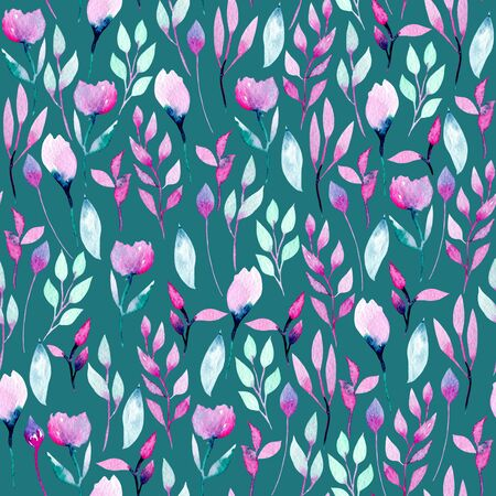 Seamless pattern with watercolor abstract pink and purple wildflowers and plants, hand painted on a dark green background