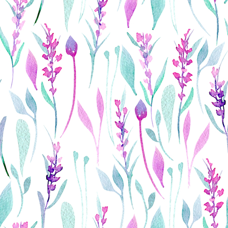 Seamless pattern with watercolor simple lavender, purple and mint plants, hand painted on a white background