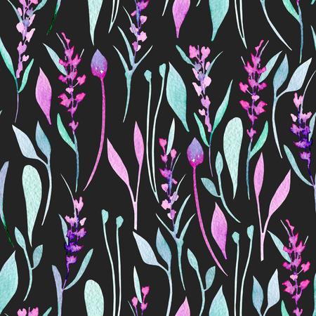Modello senza saldatura con piante di lavanda, viola e menta semplici con acquerello, dipinte a mano su uno sfondo scuro