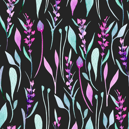 Seamless pattern with watercolor simple lavender, purple and mint plants, hand painted on a dark background