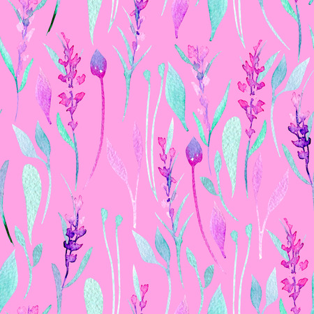 Seamless pattern with watercolor simple lavender, purple and mint plants, hand painted on a bright pink background