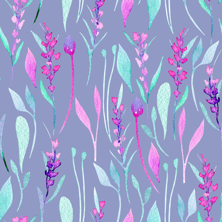 Seamless pattern with watercolor simple lavender, purple and mint plants, hand painted on a bright blue background 스톡 콘텐츠