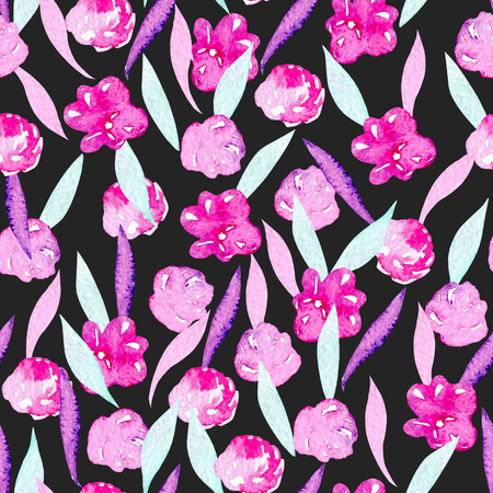 Seamless pattern with watercolor abstract pink peonies, mint and purple leaves, hand painted on a dark background