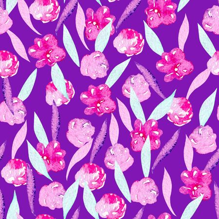 Seamless pattern with watercolor abstract pink peonies, mint and purple leaves, hand painted on a purple background