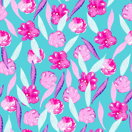 Seamless pattern with watercolor abstract pink peonies, mint and purple leaves, hand painted on a bright turquoise background