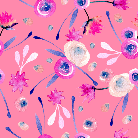 Seamless pattern with watercolor abstract pink and blue flowers and plants, hand painted on a pink background Stock Photo