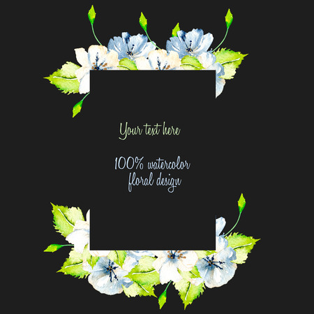 Frame border with simple watercolor blue and white wildflowers and green fresh leaves, hand painted on a dark background, template floral design for wedding cards Stockfoto