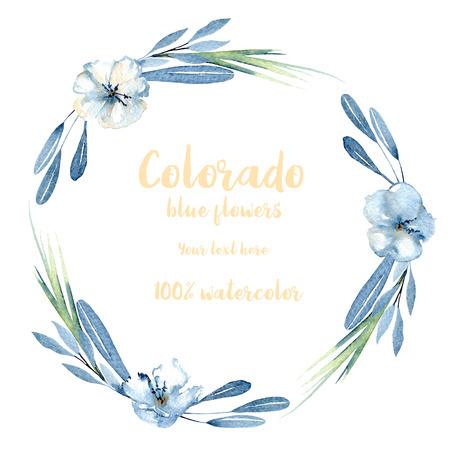 Corona, cerchio telaio con fiori semplici acquerello blu, foglie e rami, dipinti a mano su uno sfondo bianco