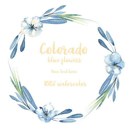 Wreath, circle frame with simple watercolor blue flowers, leaves and branches, hand painted on a white background