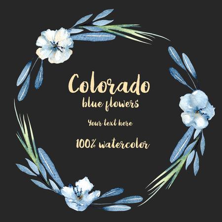 Grinalda, moldura circulares com flores, folhas e galhos azuis aqu