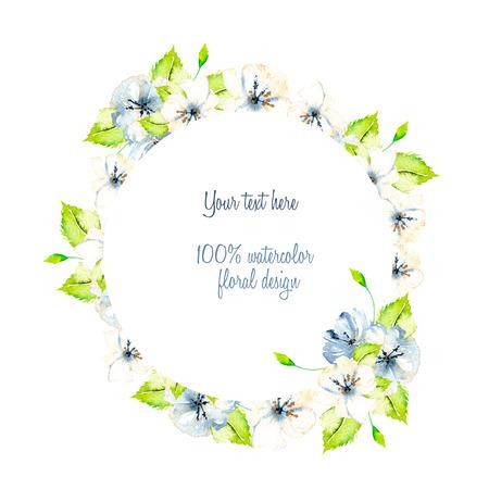 Grinalda, moldura circulares com flores de primavera de flores brancas e azuis simples, folhas verdes, pintadas