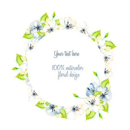 Wreath, circle frame with simple watercolor white and blue spring flowers, green leaves, hand painted on a white background
