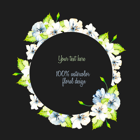 Wreath, circle frame with simple watercolor white and blue spring flowers, green leaves, hand painted on a dark background